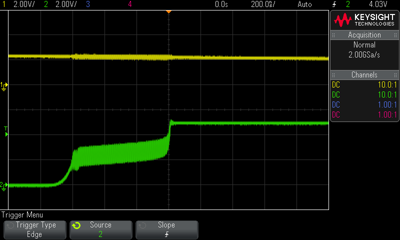 Oscilloscope screen showing the rising edge of the output oscillating in mid-transition