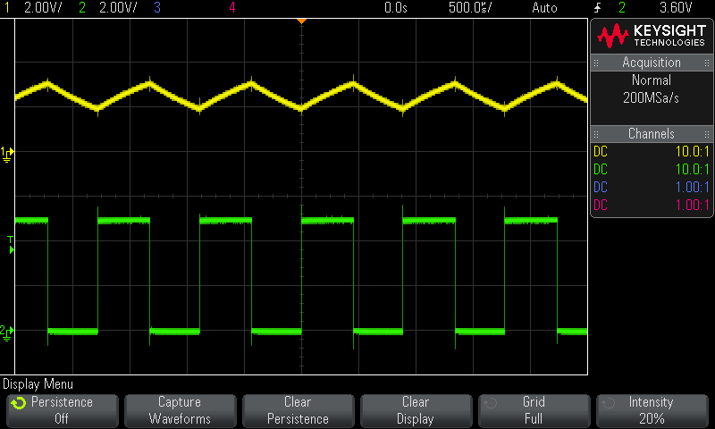 Oscilloscope screen showing severe oscillations overlaid on the signal